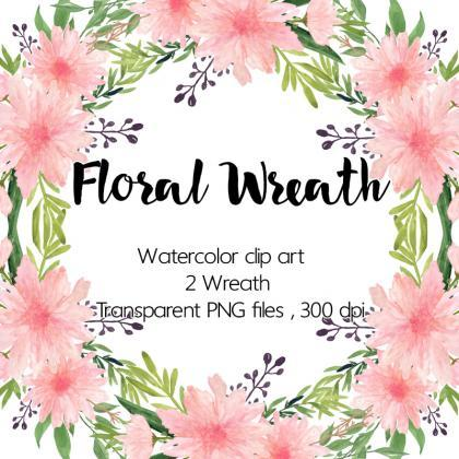 Watercolour Floral Wreath - Waterco..
