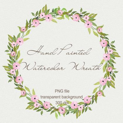 Watercolor floral wreath clipart - ..
