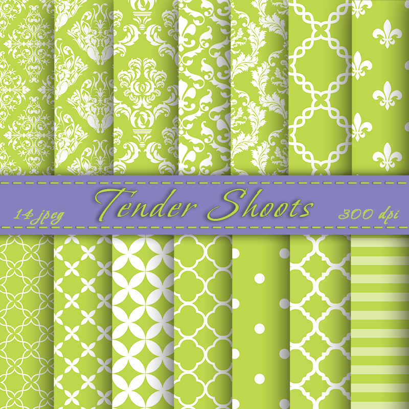 Tender Shoots Digital Paper Pack, Digital Scrapbook Paper, Damask, Graphic Design, Personal Or Commercial Use