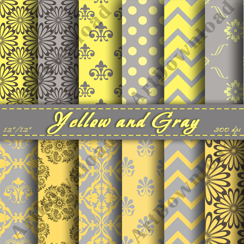 Yellow and Gray Digital Scrapbooking Paper Digital Downloads Scrapbooking Paper Cardmaking Printable