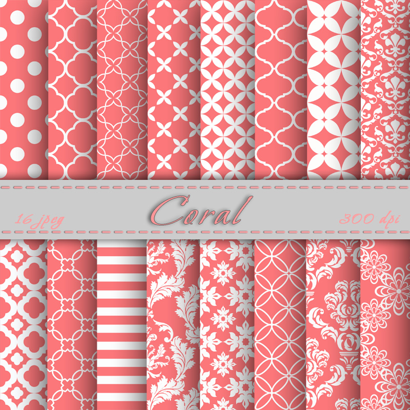 graphic regarding Printable Patterns titled Coral Electronic Paper Sbooking Papers Behaviors Electronic Backgrounds Printable For Person Or Business Employ the service of