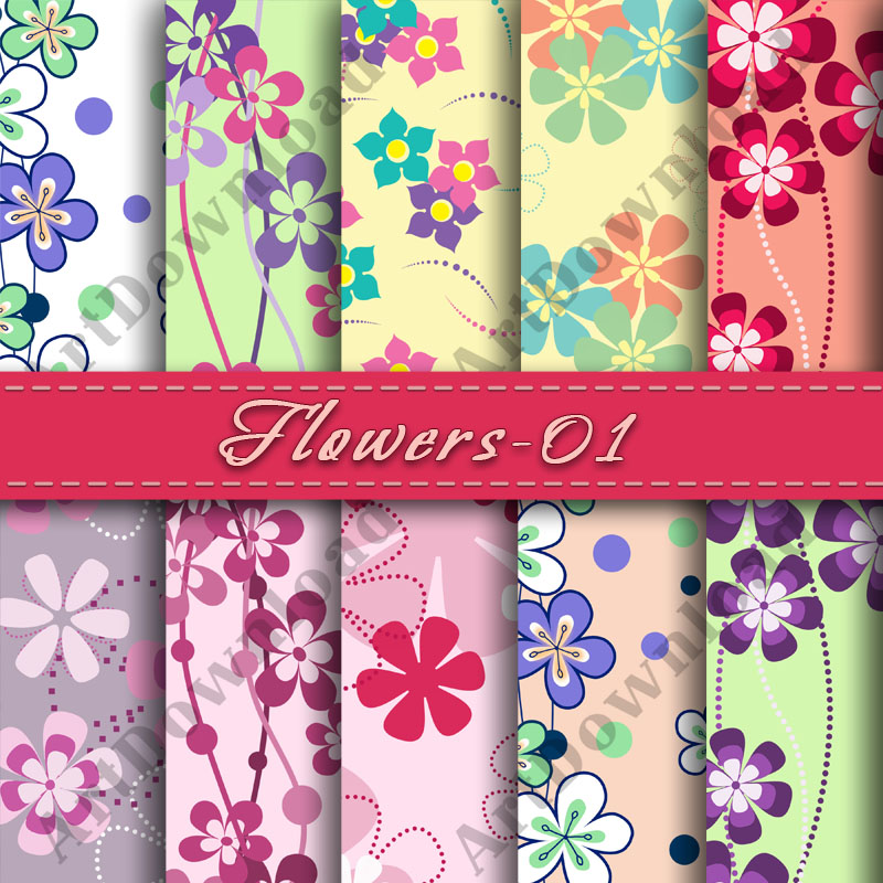 Flowers Scrapbooking Paper Flower Backgrounds Digital