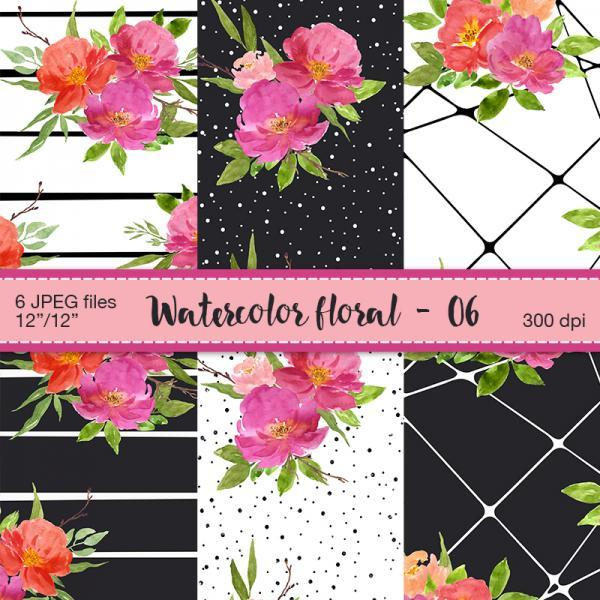 Watercolor floral digital paper - Digital Scrapbooking paper, Flowers patterns, Romantic flowers, Wedding digital paper, Floral backgrounds