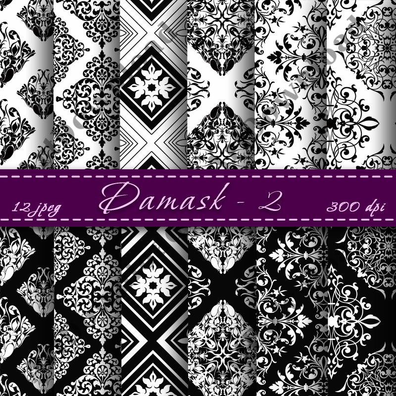 Damask Digital Paper Pack Digital Scrapbooking Paper ...